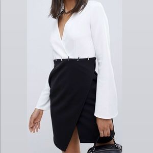 Asos black and white color dress w/ silver details